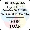 Đề thi tuyển sinh lớp 10 THPT TP Cần Thơ năm học 2012 - 2013 môn Toán - Có đáp án