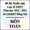 Đề thi tuyển sinh lớp 10 THPT tỉnh Đồng Nai năm học 2012 - 2013 môn Toán - Có đáp án