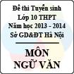 Đề thi tuyển sinh lớp 10 THPT TP Hà Nội năm học 2013 - 2014 môn Ngữ văn