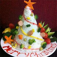 Cách làm cây thông Noel bằng cơm xinh xắn