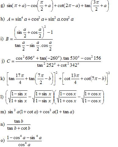 Bài tập công thức lượng giác lớp 10