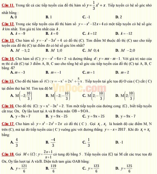 Câu hỏi trắc nghiệm môn Toán lớp 12: Tiếp tuyến của đồ thị hàm số