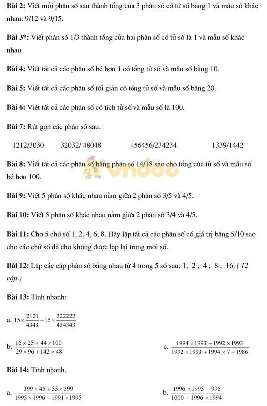 Bài tập về phân số