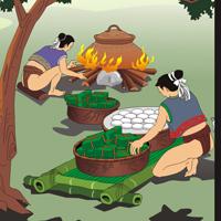 Trong buổi lễ đăng quang, Lang Liêu đã kể cho mọi người nghe về sự ra đời của hai loại bánh chưng, bánh giầy. Hãy ghi lại lời kể ấy