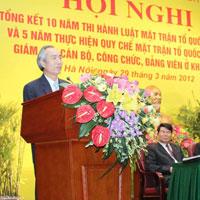 Bài phát biểu tại hội nghị tổng kết công tác Mặt trận tổ quốc