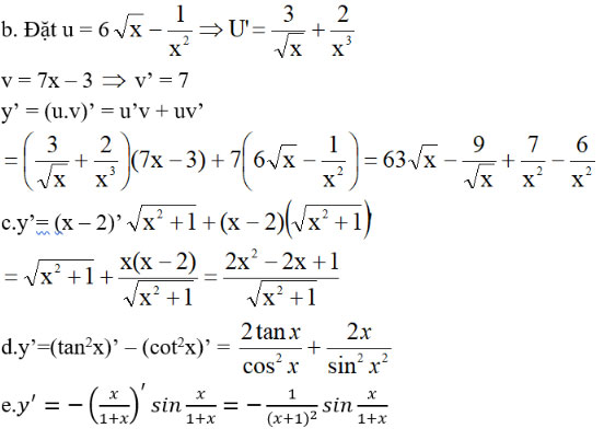Đạo hàm của hàm số lượng giác