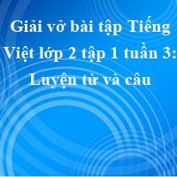 Giải vở bài tập Tiếng Việt lớp 2 tập 1 tuần 3: Luyện từ và câu