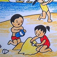 Tranh tô màu chủ đề về biển mùa hè