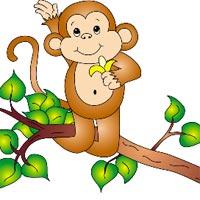Tranh tô màu hình con khỉ ngộ nghĩnh