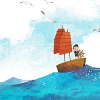 Tranh tô màu hình con thuyền cho bé khám phá đại dương