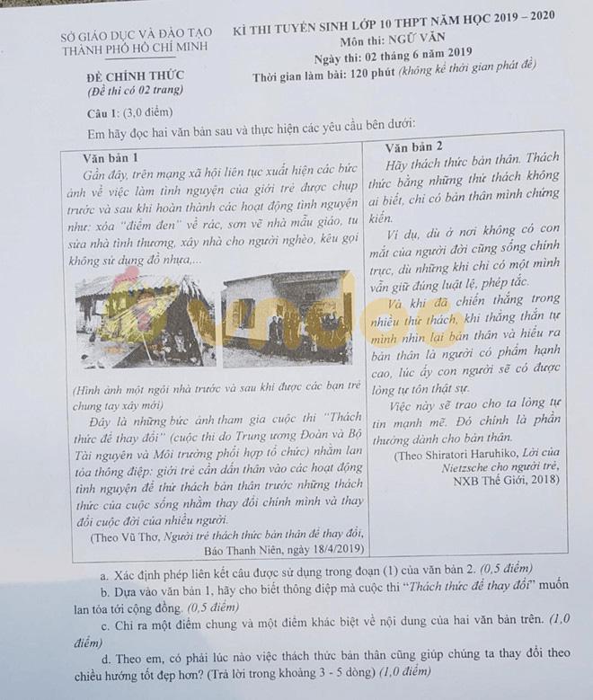 áp án đề thi vào lớp 10 môn Văn Thành Phố Hồ Chí Minh năm 2019