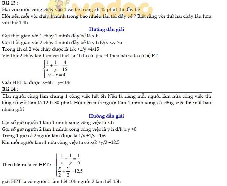 83 bài Toán giải bằng cách lập hệ phương trình