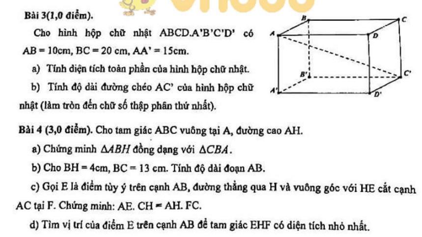 Bộ đề thi học kì 2 lớp 8 môn Toán